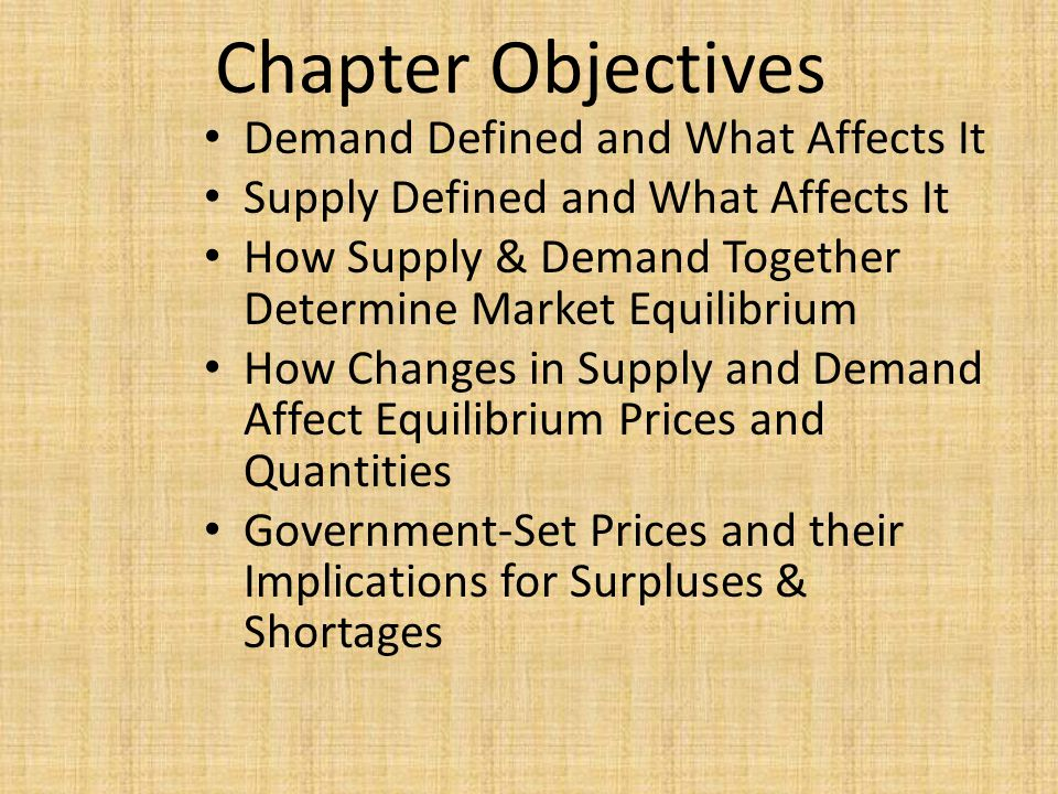 Chapter Objectives Demand Defined and What Affects It