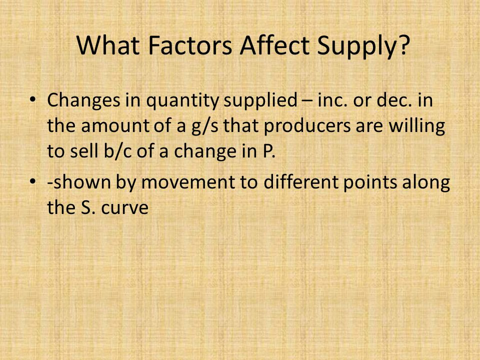 What Factors Affect Supply