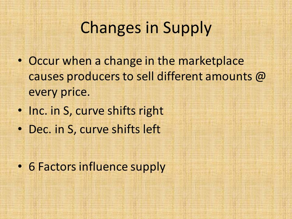 Changes in Supply Occur when a change in the marketplace causes producers to sell different amounts @ every price.