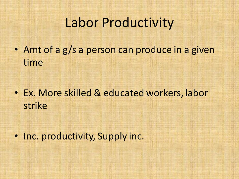 Labor Productivity Amt of a g/s a person can produce in a given time