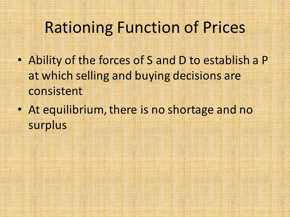 Rationing Function of Prices