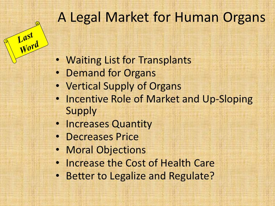 A Legal Market for Human Organs