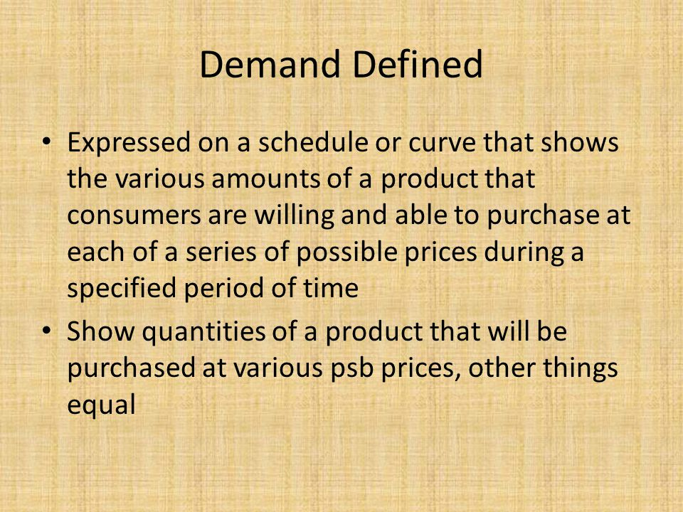 Demand Defined