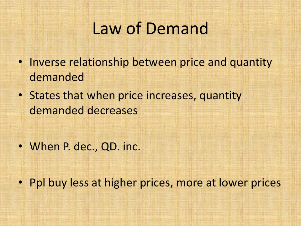 Law of Demand Inverse relationship between price and quantity demanded