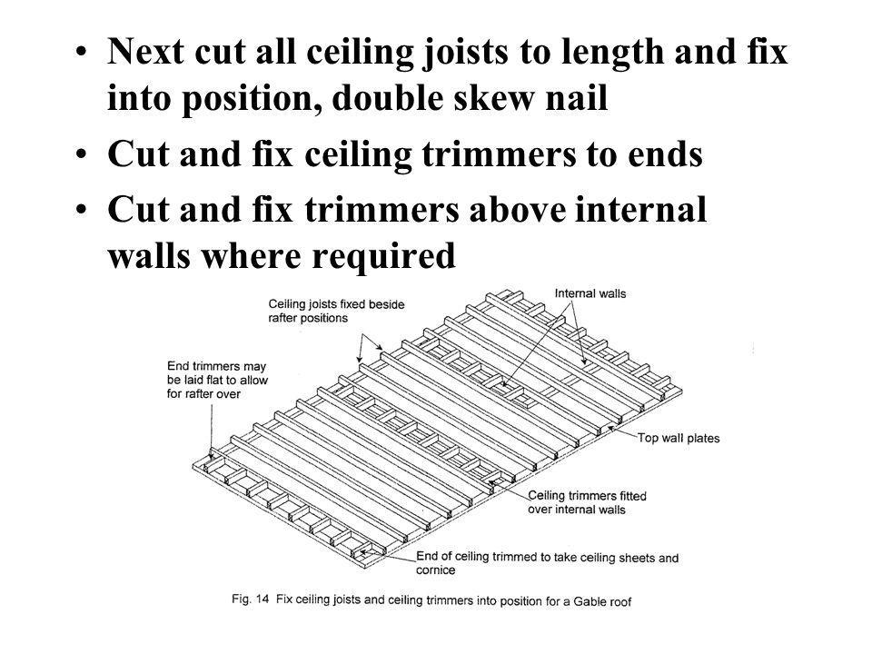 Next cut all ceiling joists to length and fix into position, double skew nail