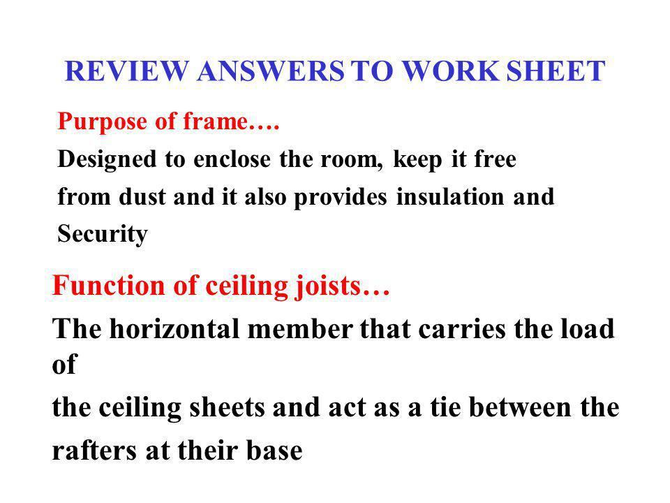 REVIEW ANSWERS TO WORK SHEET