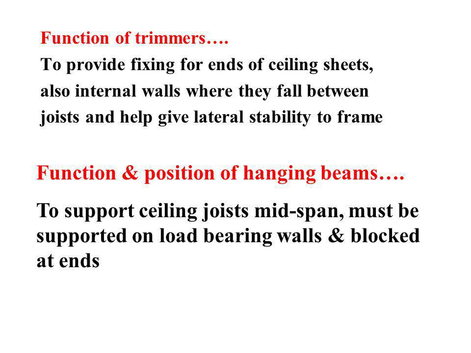Function & position of hanging beams….
