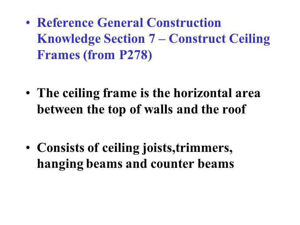 Reference General Construction Knowledge Section 7 – Construct Ceiling Frames (from P278)