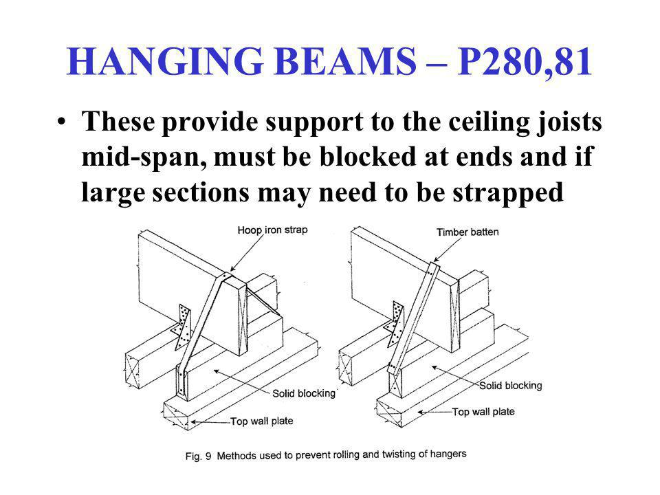 HANGING BEAMS – P280,81 These provide support to the ceiling joists mid-span, must be blocked at ends and if large sections may need to be strapped.
