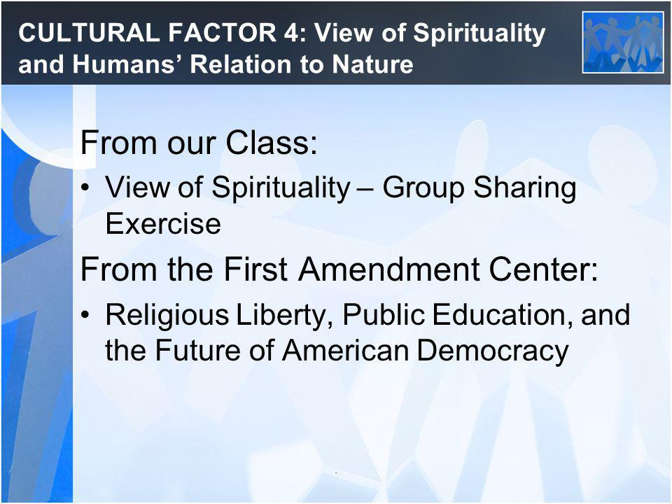 CULTURAL FACTOR 4: View of Spirituality and Humans' Relation to Nature