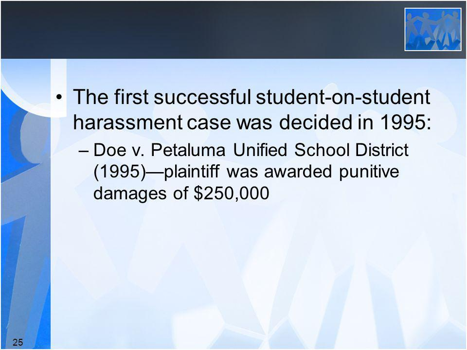 The first successful student-on-student harassment case was decided in 1995: