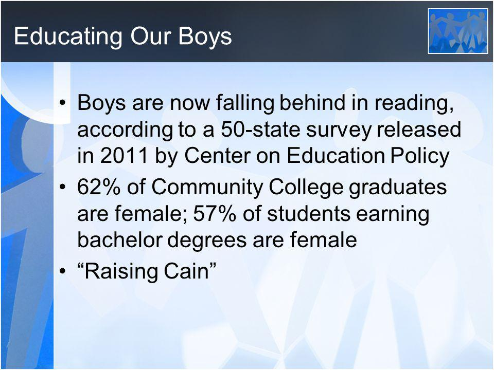 Educating Our Boys Boys are now falling behind in reading, according to a 50-state survey released in 2011 by Center on Education Policy.