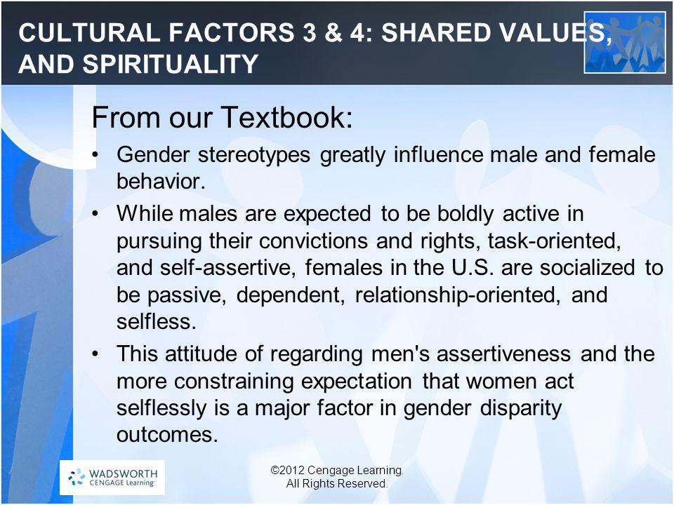 CULTURAL FACTORS 3 & 4: SHARED VALUES, AND SPIRITUALITY