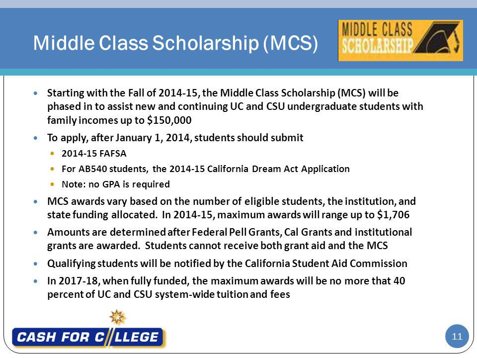 Middle Class Scholarship (MCS)