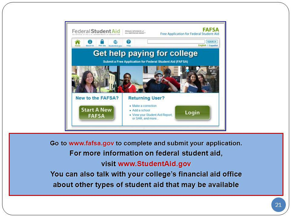 For more information on federal student aid, visit www.StudentAid.gov