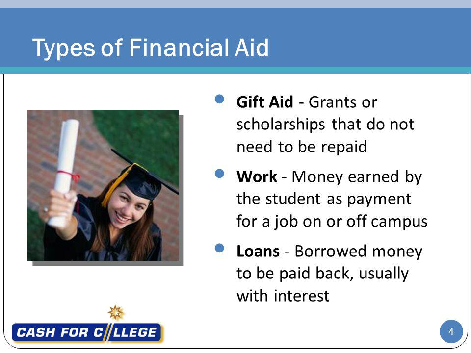 Types of Financial Aid Gift Aid - Grants or scholarships that do not need to be repaid.