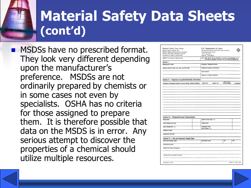 Material Safety Data Sheets (cont'd)