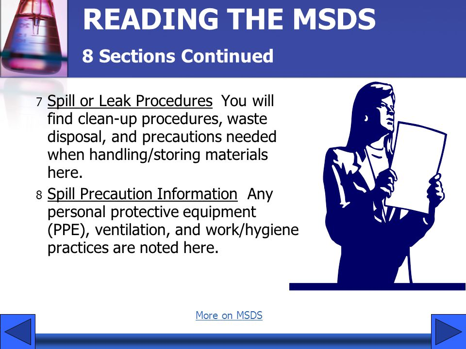 READING THE MSDS 8 Sections Continued