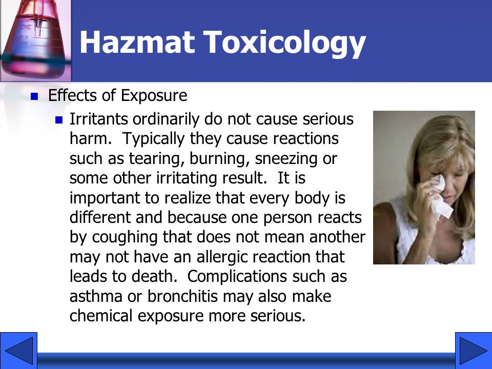 Hazmat Toxicology Effects of Exposure