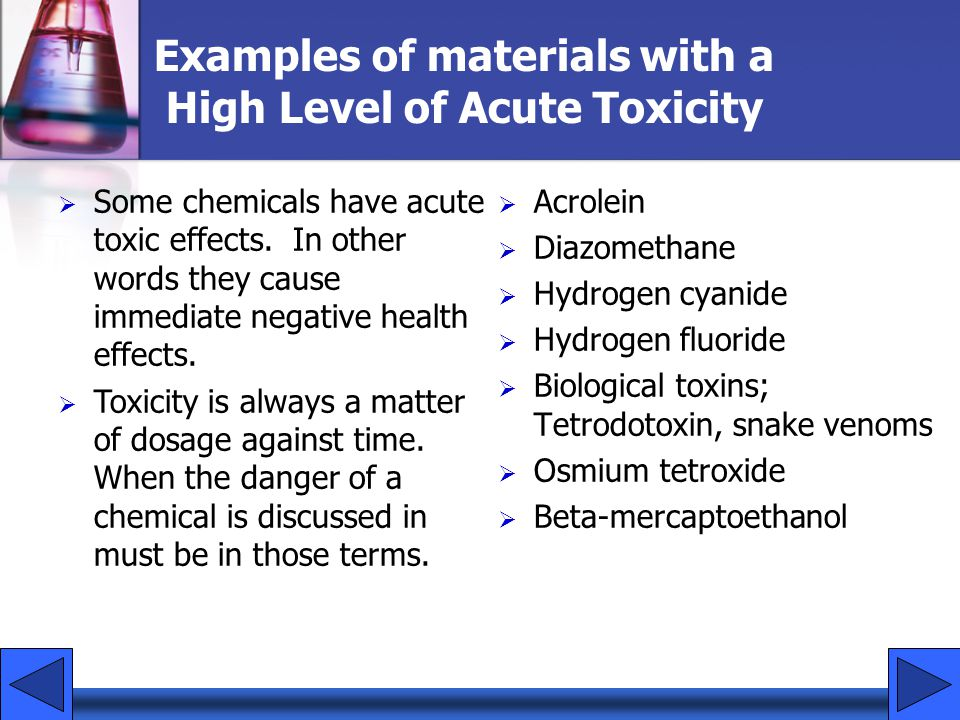 Examples of materials with a High Level of Acute Toxicity
