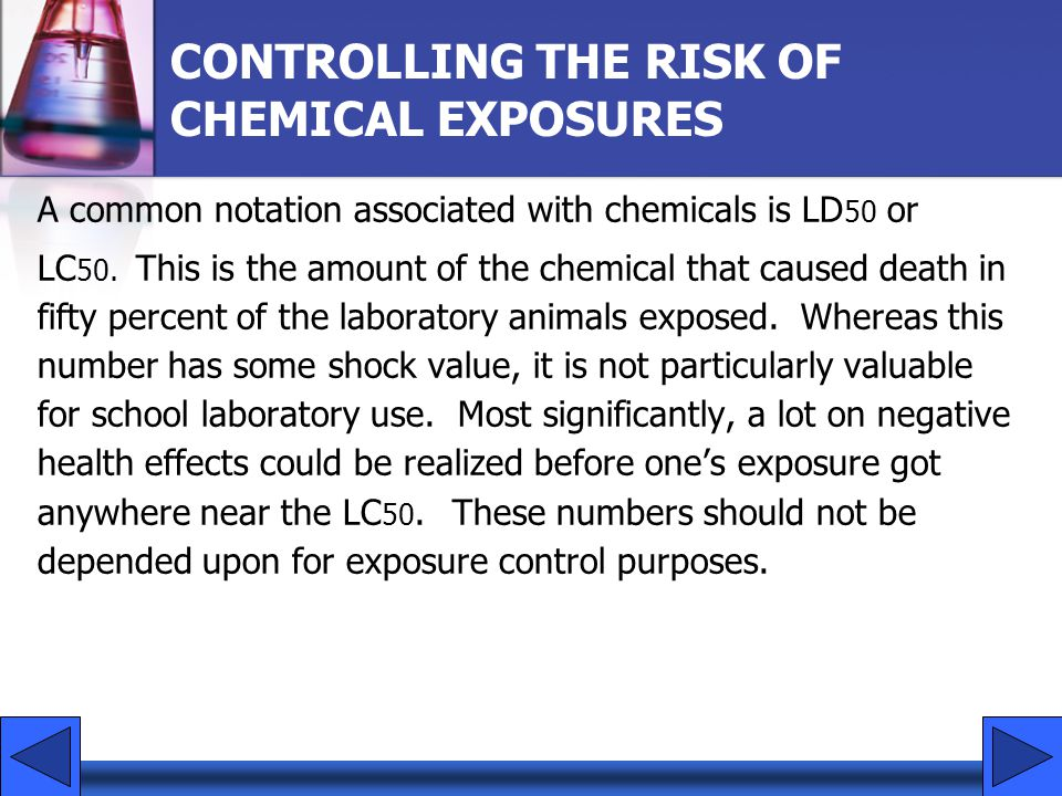 CONTROLLING THE RISK OF CHEMICAL EXPOSURES