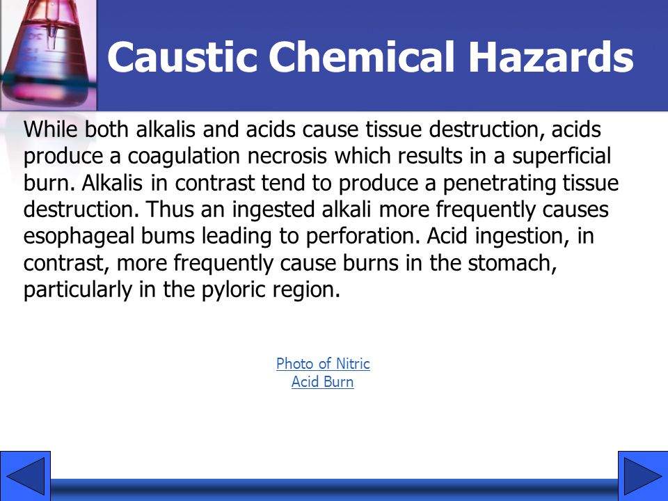 Caustic Chemical Hazards