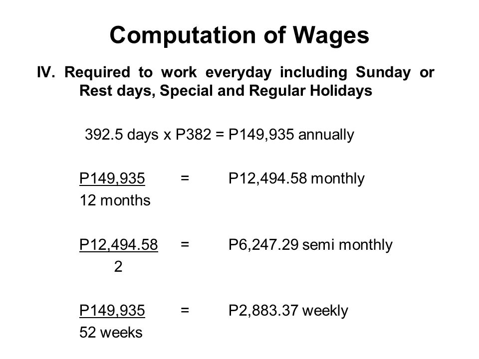 Computation of Wages IV. Required to work everyday including Sunday or Rest days, Special and Regular Holidays.