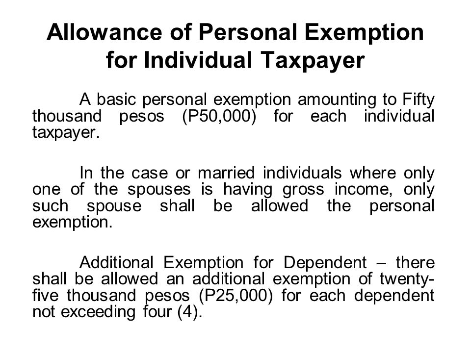 Allowance of Personal Exemption for Individual Taxpayer