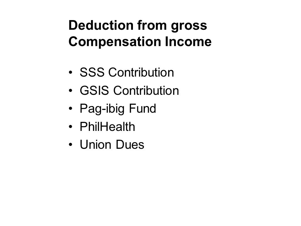 Deduction from gross Compensation Income