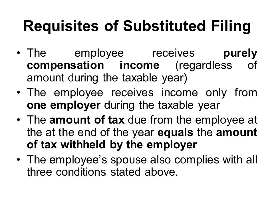 Requisites of Substituted Filing