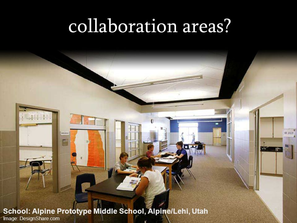 collaboration areas. School: Alpine Prototype Middle School, Alpine/Lehi, Utah.