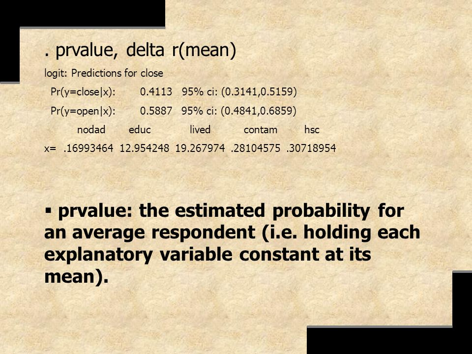 . prvalue, delta r(mean) logit: Predictions for close. Pr(y=close|x): 0.4113 95% ci: (0.3141,0.5159)