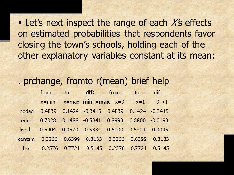 . prchange, fromto r(mean) brief help