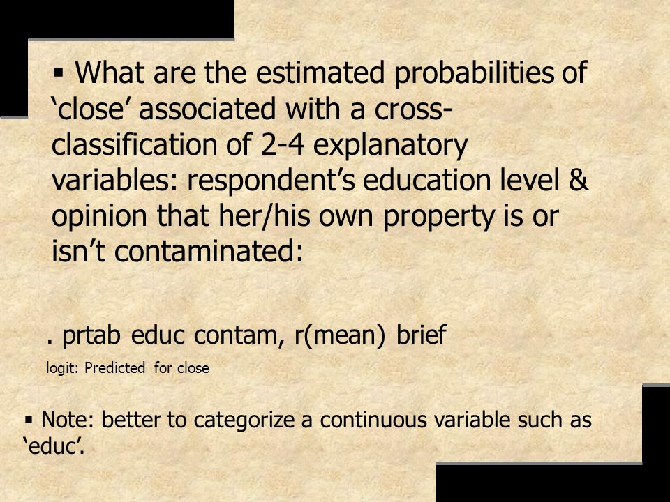 . prtab educ contam, r(mean) brief