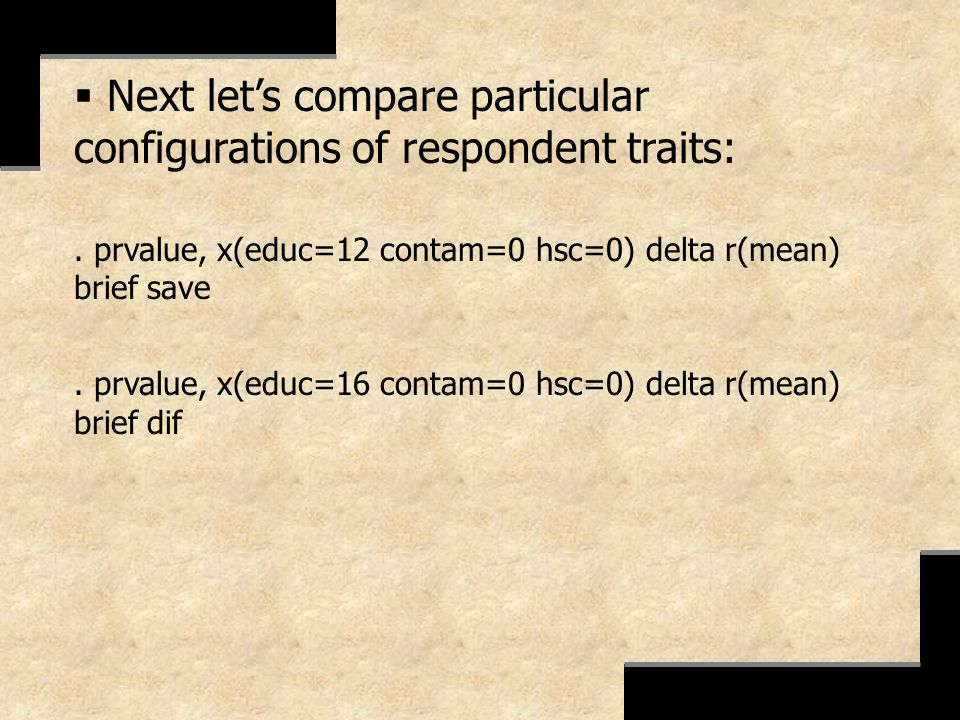 Next let's compare particular configurations of respondent traits: