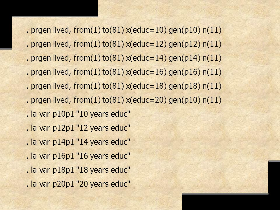 . prgen lived, from(1) to(81) x(educ=10) gen(p10) n(11)