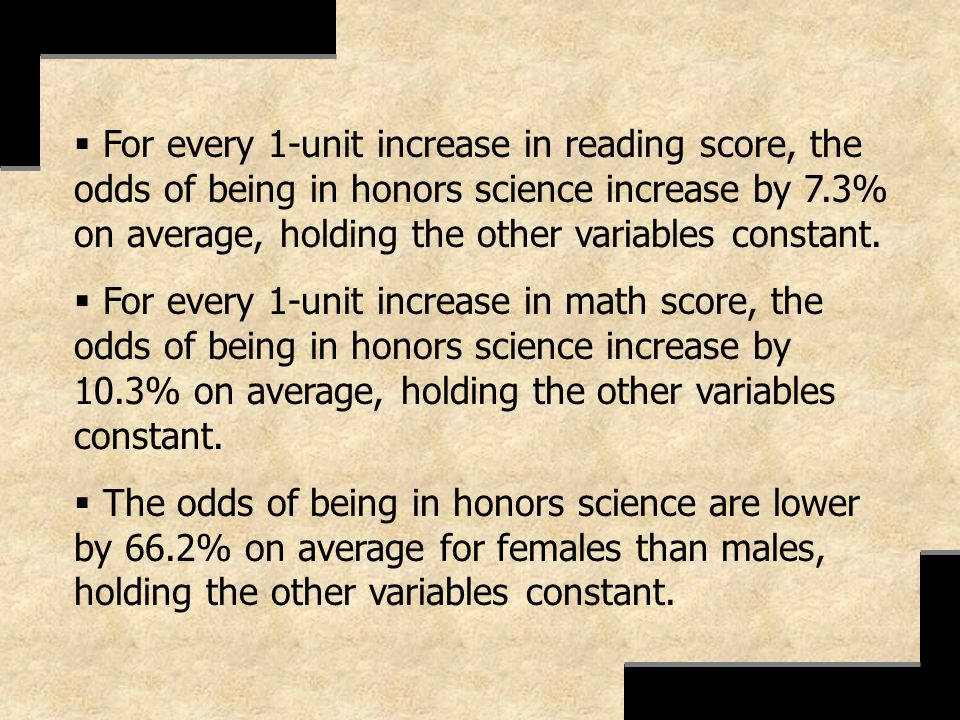 For every 1-unit increase in reading score, the odds of being in honors science increase by 7.3% on average, holding the other variables constant.
