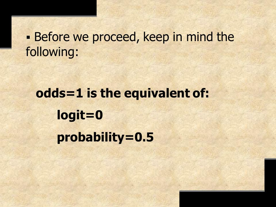 logit=0 probability=0.5 Before we proceed, keep in mind the following: