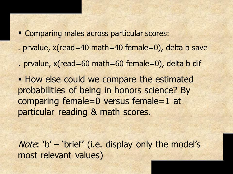 Comparing males across particular scores: