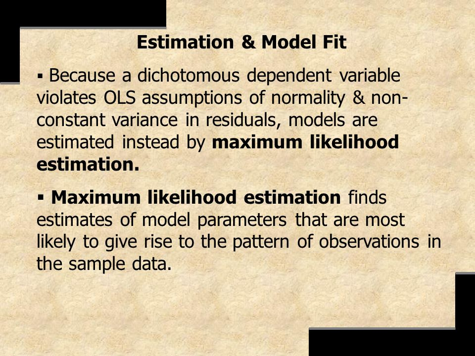 Estimation & Model Fit