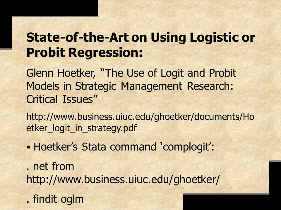 State-of-the-Art on Using Logistic or Probit Regression: