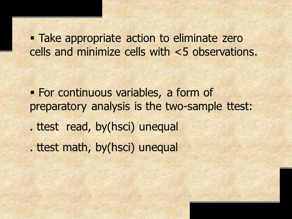 Take appropriate action to eliminate zero cells and minimize cells with <5 observations.