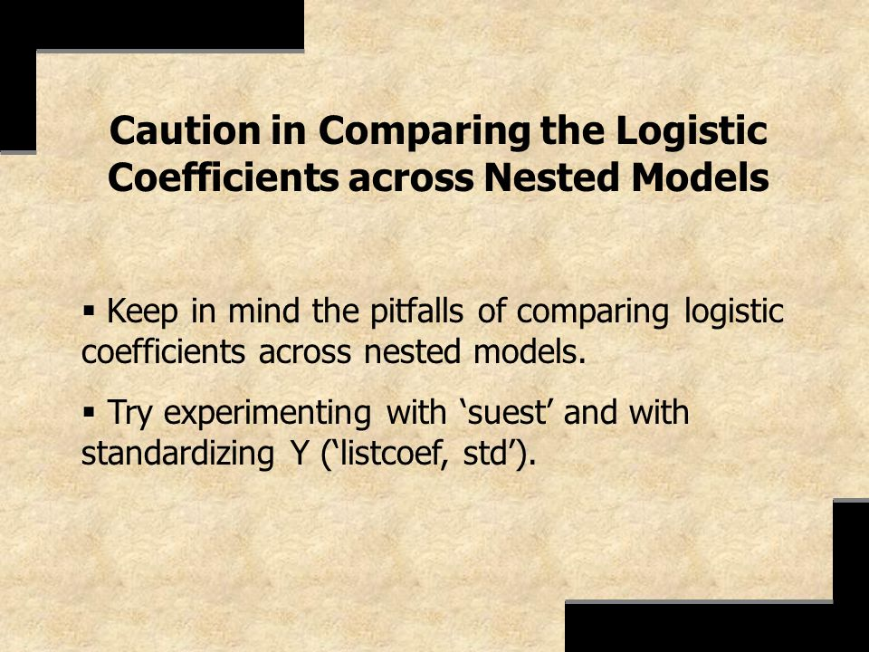 Caution in Comparing the Logistic Coefficients across Nested Models