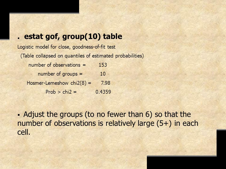 . estat gof, group(10) table