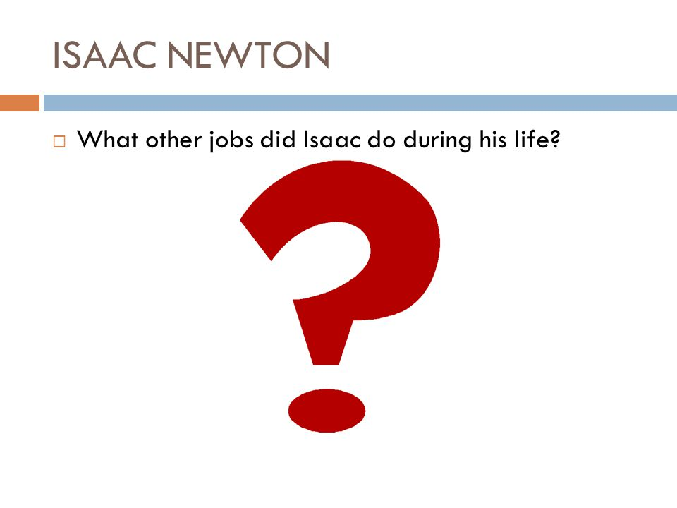 ISAAC NEWTON What other jobs did Isaac do during his life