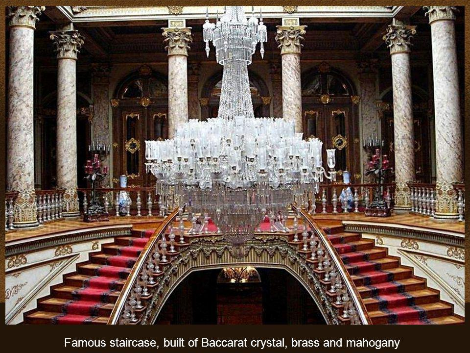 Famous staircase, built of Baccarat crystal, brass and mahogany