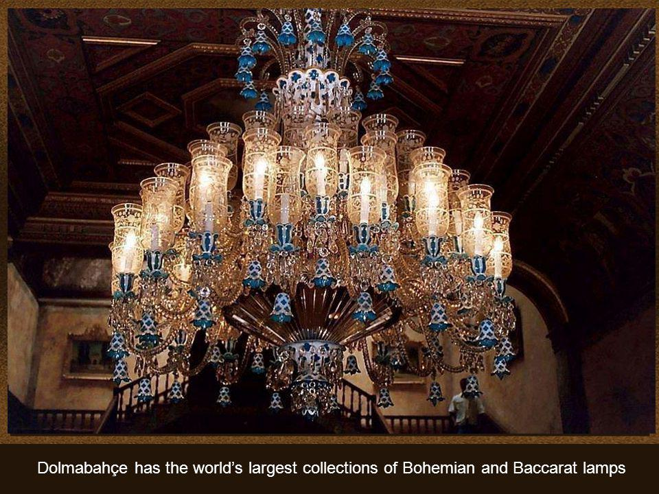 Dolmabahçe has the world's largest collections of Bohemian and Baccarat lamps
