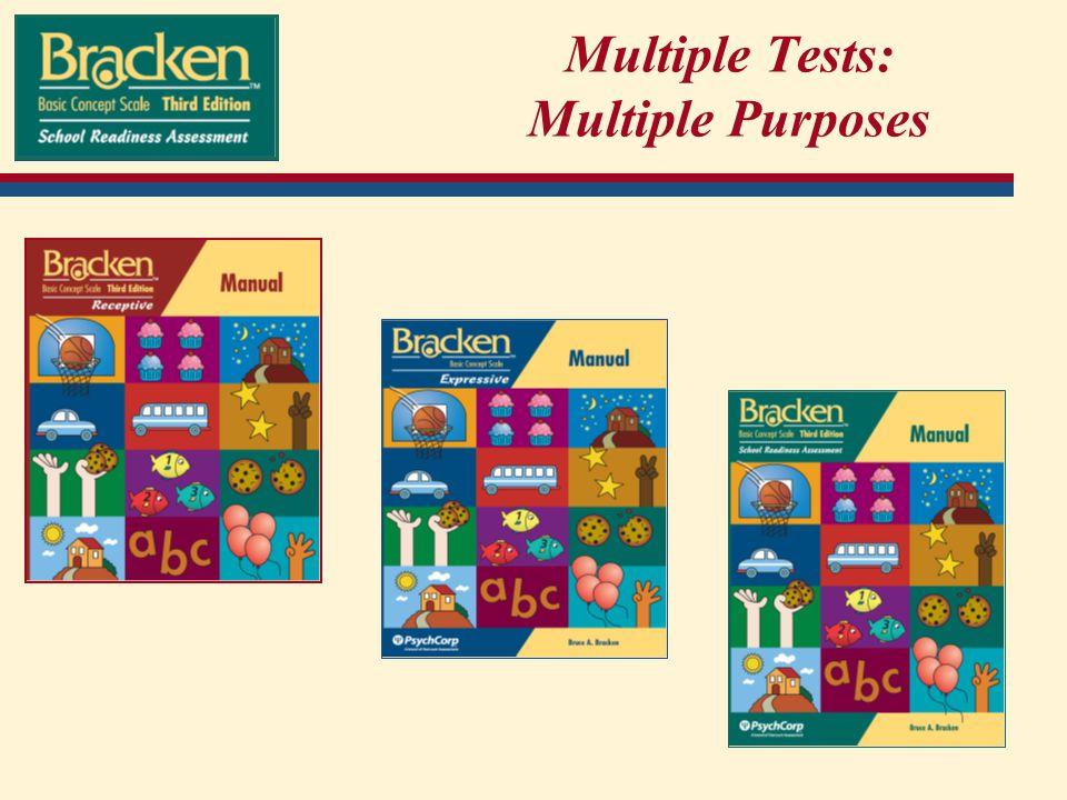Multiple Tests: Multiple Purposes