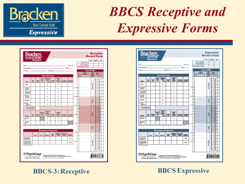 BBCS Receptive and Expressive Forms