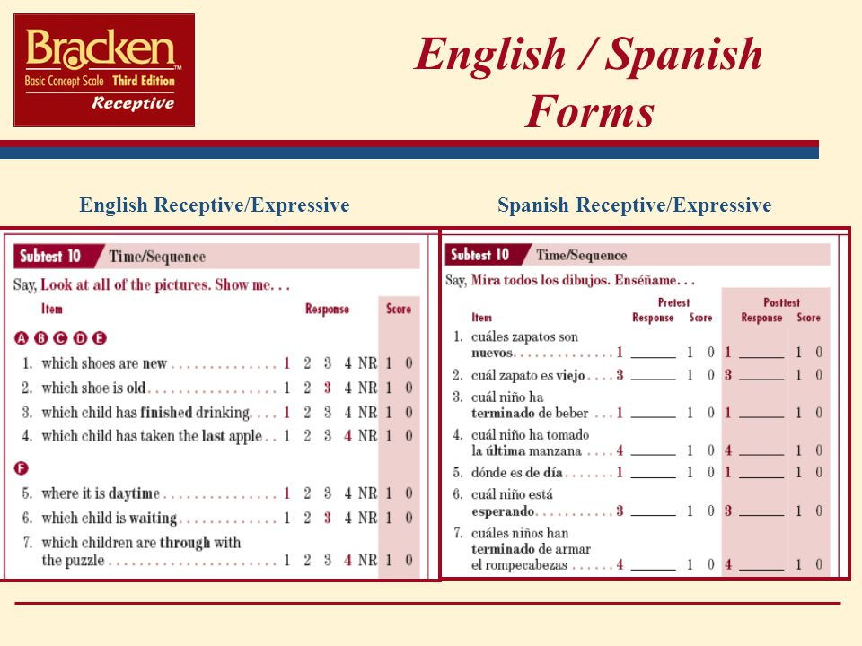 English / Spanish Forms